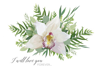 FototapetaVector floral greeting card design with elegant bouquet of white pink tropical orchid flower, lilac, eucalyptus green branches, greenery herbs, palm leaves. Romantic editable isolated designer element