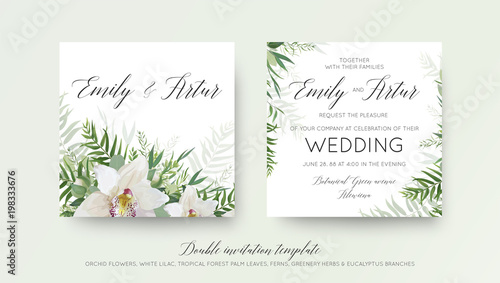 Fototapeta Wedding Double Invitation Invite Card Design With Elegant White Orchid Flower Greenery Willow Eucalyptus Branches Tropical Forest Palm