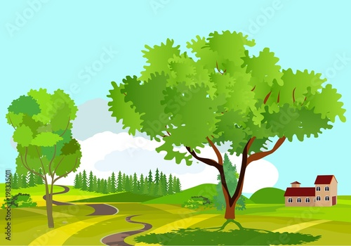 Countryside view vector illustration, a house in the green hills, road ribbon on hills, outdoor concept, nature landscape