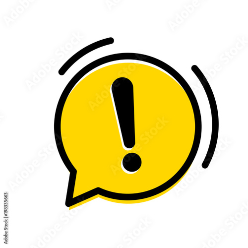 Obraz na płótnie Attention warning exclamation mark icon in vector yellow chat bubble