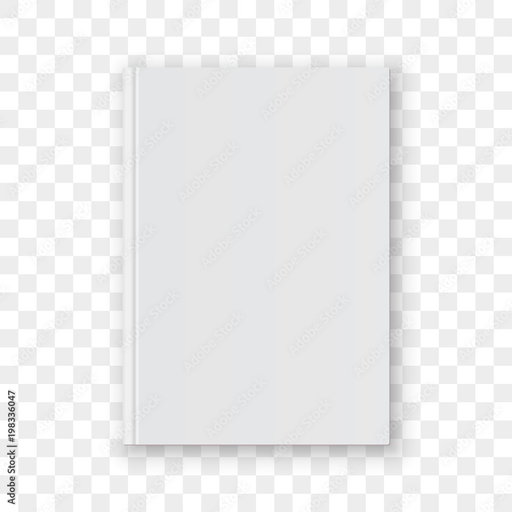 Fototapeta Book cover blank white vertical design template. Vector empty book cover model mockup isolated on transparent background