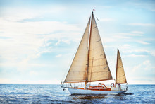 Vintage Wooden Two Mast Yacht ...