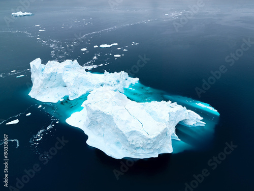 Fototapeta Arctic icebergs on arctic ocean in Greenland