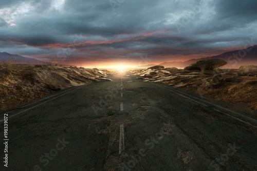 Fotomural Einsame Straße durch die Wüste