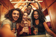 canvas print picture - Group of friends taking selfie at night club party