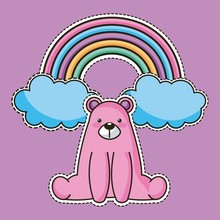 Cool Sticker Pink Bear Sit And Rainbow Vector Illustration