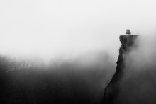 Misty Canyon With Sharp Cliff Iin Delika