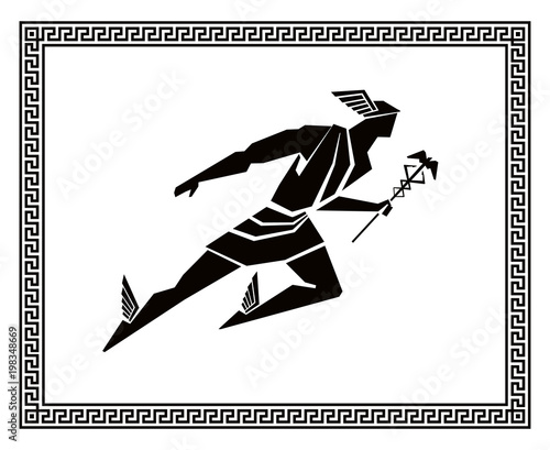 Flying Hermes in the Greek frame. Vector drawing Canvas