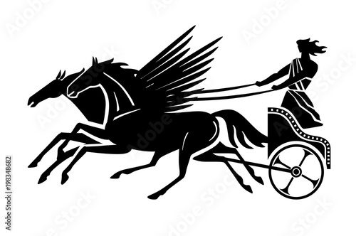 Photo Greek flying chariot silhouette. Vector drawing