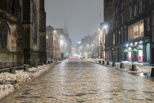 Deserted Royal Mile On A Foggy...