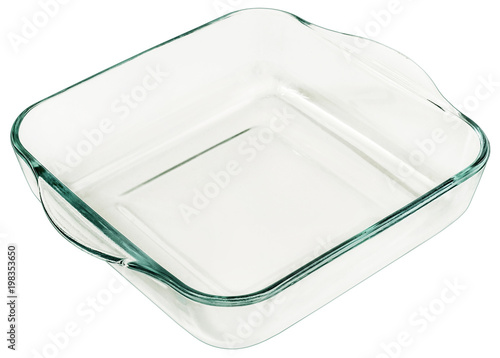 Rounded Square Heath Resistant Glass Baking Pan With Curved Handles Isolated On White Background