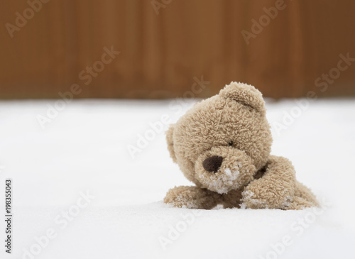 One teddy bear sitting alone on snow during winter time a cute one teddy bear sitting alone on snow during winter time a cute brown bear lying altavistaventures Images