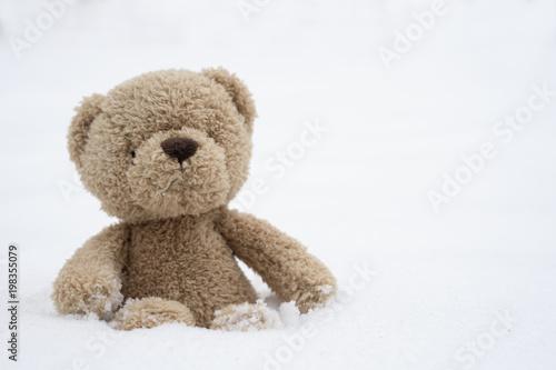 One teddy bear sitting alone on snow during winter time a cute one teddy bear sitting alone on snow during winter time a cute brown bear seated altavistaventures Choice Image