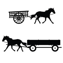 Horse With Carriage Vector Sil...