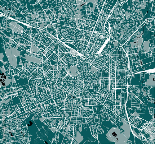 Cuadros en Lienzo vector map of the city of Milan, capital of Lombardy, Italy