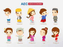 AEC (ASEAN Economic Community) Cartoon Concept. Southeast Asia People In Traditional Clothing Man And Woman,  Eps10 Vector.