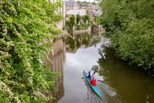 Kayaking On The River Avon (Bristol Avon) In Bradford-on-Avon Wiltshire Southwest England UK