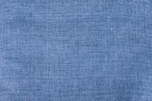 Texture Of Denim Blue Linen Flax Fabric Closeup As Textile Background