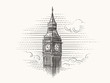 Elizabeth Tower (Big Ben) hand drawn illustration. Vector.