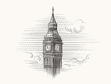 Fototapeta Big Ben - Elizabeth Tower (Big Ben) hand drawn illustration. Vector.