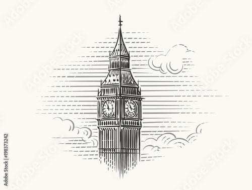 Elizabeth Tower (Big Ben) hand drawn illustration. Vector. Canvas Print