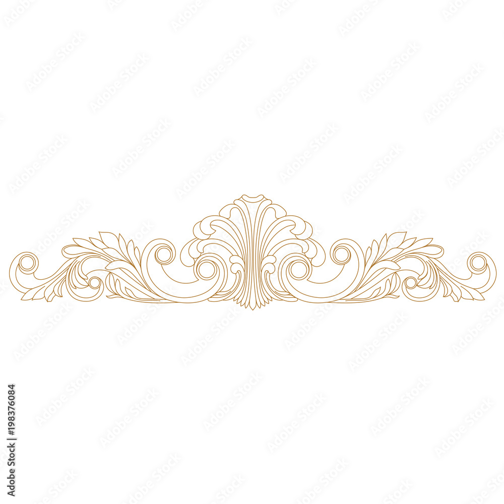 Fototapety, obrazy: Golden vintage baroque ornament, corner. Retro pattern antique style acanthus. Decorative design element filigree calligraphy vector. - stock vector