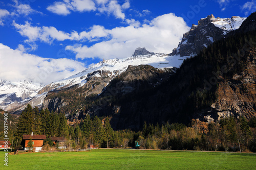 Foto op Aluminium Grijze traf. Alpine landscape in Kandersteg, Canton Bern, Switzerland, Europe