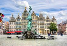 Brabo Fountain On Market Square, Center Of Antwerp, Belgium