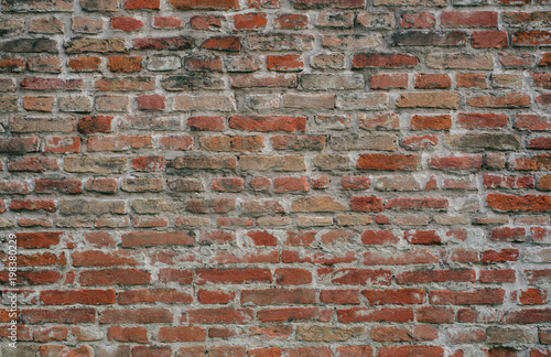 Staande foto Baksteen muur loft old weathered bricks wall, background, texture
