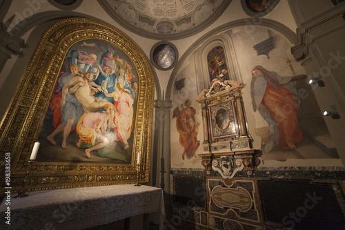 Türaufkleber Phantasie Firenze, chiesa di Santa Felicita, la deposizione del Pontormo restaurata.
