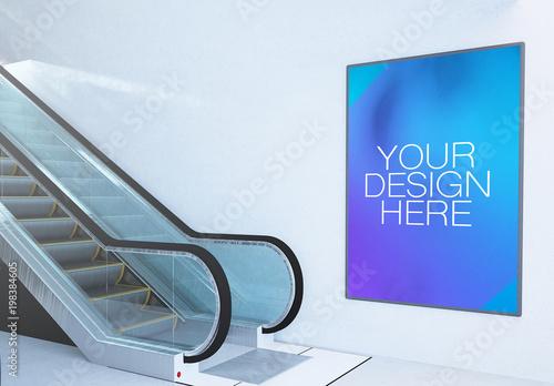 Advertising Billboard Mockup On Wall With Escalator Buy This