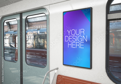 poster mockup on 3d rendering train interior  buy this