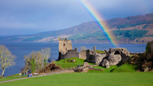 Rainbow In Urquhart Castle Along Loch Ness Lake In Scotland In A Beautiful Summer Day, United Kingdom