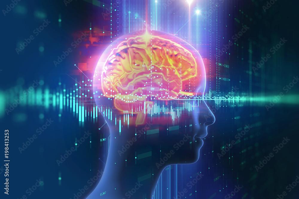 Fototapety, obrazy: 3d rendering of human  brain on technology background