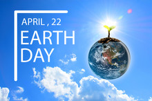 3D Illustration Design, Earth Day Concept, The Blue Earth And Brown Ribbon With A White Circle On A Blue Sky Background, Element Furnished By Nasa.