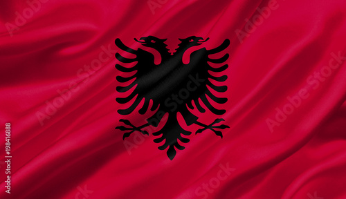 Photo Albania flag waving with the wind, 3D illustration.