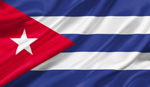 Cuba Flag Waving With The Wind, 3D Illustration.