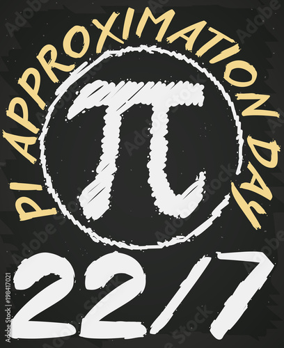 Photo Blackboard Drawing in Math Class for Pi Approximation Day, Vector Illustration
