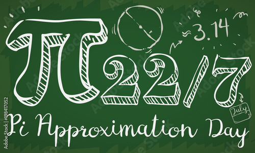 Banner of a math class with doodle drawings, date like fraction and giant pi symbol to commemorate on 22nd July the Pi Approximation Day Canvas Print