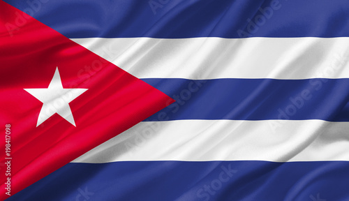 Cuba flag waving with the wind, 3D illustration. Wallpaper Mural