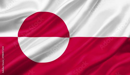 Fotografie, Obraz  Greenland flag waving with the wind, 3D illustration.