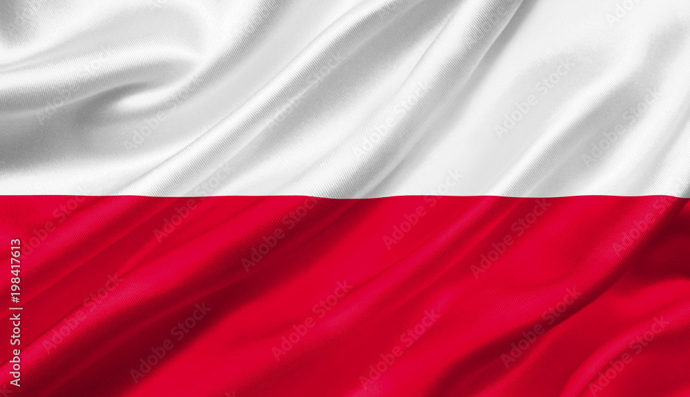 Fototapety, obrazy: Poland flag waving with the wind, 3D illustration.
