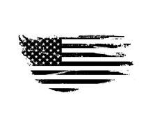 Black Vintage USA Flag Illustration. Vector American Flag On Grunge Texture.