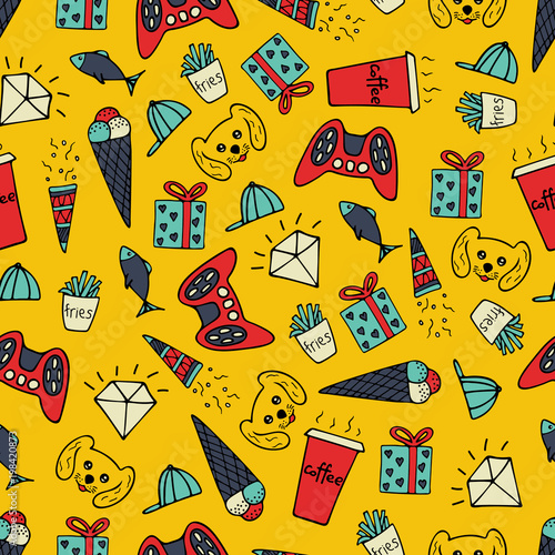 Cute seamless pattern with hand-drawn illustrations. Doodles. Poster