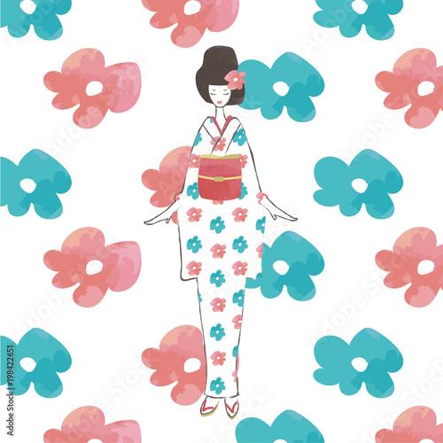 レトロモダン花柄の着物の女の子の水彩タッチ手描き風イラスト白地に青