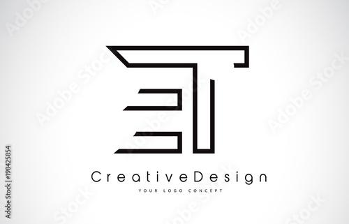 Photo  ET E T Letter Logo Design in Black Colors.