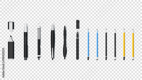 Fotografía  Realistic Writing Materials Isolated Vector Objects