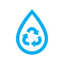 Save Water Icon. Blue Recycle ...