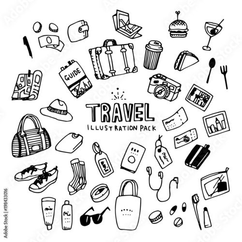 Travel Illustration Pack Fototapeta