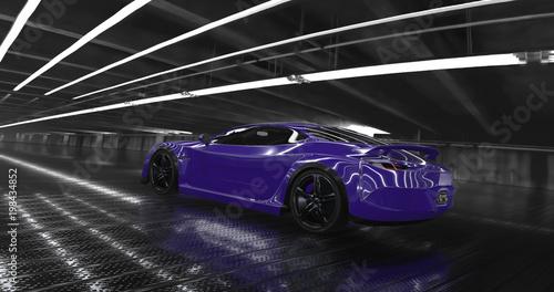 Luksusowy purpurowy pojęcie sportowy samochód 3d odpłaca się. Refleksje dookoła.